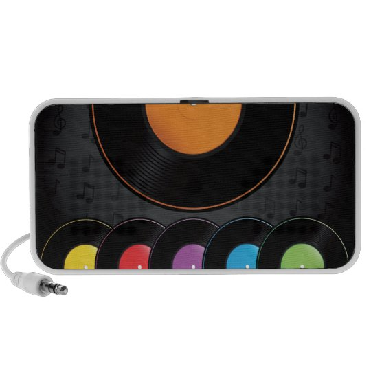 Turntable Records In Vivid Colors Speaker