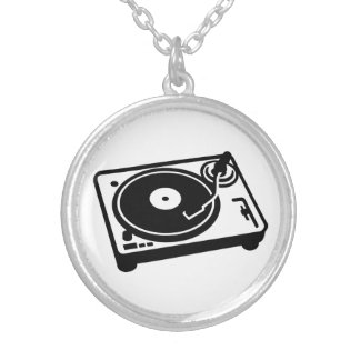Turntable vinyl silver plated necklace