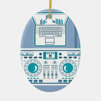 Turntable with Laptop DJ equipment Vector Ceramic Ornament