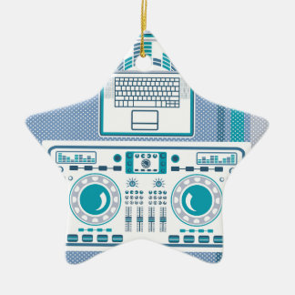 Turntable with Laptop DJ equipment Vector Ceramic Ornament