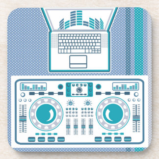 Turntable with Laptop DJ equipment Vector Drink Coaster