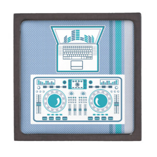 Turntable with Laptop DJ equipment Vector Jewelry Box