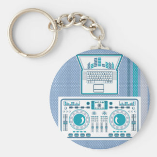 Turntable with Laptop DJ equipment Vector Keychain