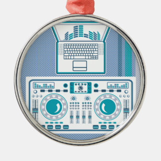 Turntable with Laptop DJ equipment Vector Metal Ornament