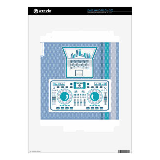 Turntable with Laptop DJ equipment Vector Skins For iPad 2