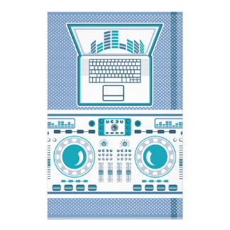 Turntable with Laptop DJ equipment Vector Stationery
