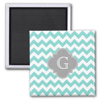 Turq / Aqua White Chevron Gray Quatrefoil Monogram 2 Inch Square Magnet