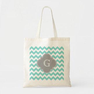 Turq / Aqua White Chevron Gray Quatrefoil Monogram Budget Tote Bag