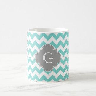 Turq / Aqua White Chevron Gray Quatrefoil Monogram Classic White Coffee Mug