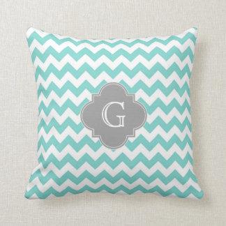 Turq / Aqua White Chevron Gray Quatrefoil Monogram Pillow