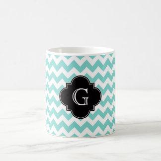 Turq / Aqua Wht Chevron Black Quatrefoil Monogram Classic White Coffee Mug