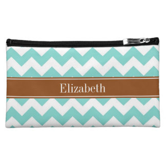 Turq / Aqua Wht Chevron Brown Name Monogram Cosmetic Bags