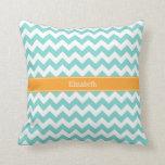 Turq / Aqua Wht Chevron Cantaloupe Name Monogram Pillow
