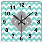 Turq / Aqua Wht Chevron Gray 3 Initial Monogram Wall Clocks