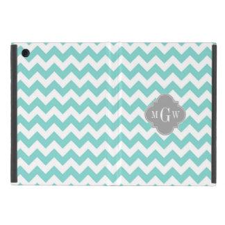 Turq / Aqua Wht Chevron Gray 3 Initial Monogram iPad Mini Cover