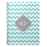 Turq / Aqua Wht Chevron Gray 3 Initial Monogram Notebook