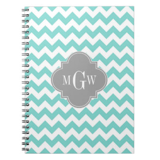 Turq / Aqua Wht Chevron Gray 3 Initial Monogram Spiral Notebook