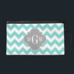 """Turq / Aqua Wht Chevron Gray 3 Initial Monogram Wristlet<br><div class=""""desc"""">Aqua / Turquoise and White Chevron ZigZag Pattern, Gray Quatrefoil 3 Initial Monogram A stylish, modern, chic chevron zig-zag pattern in aqua / turquoise and white. Customize the gray quatrefoil label with a three initial monogram or change the design to add your name or other text. (Click on &quot;Customize it&quot;...</div>"""