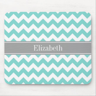 Turq / Aqua Wht Chevron Gray Name Monogram Mouse Pad