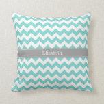 Turq / Aqua Wht Chevron Gray Name Monogram Pillow