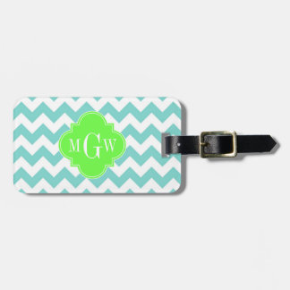 Turq / Aqua Wht Chevron Lime 3 Initial Monogram Luggage Tag