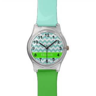 Turq / Aqua Wht Chevron Lime Name Monogram Wristwatch