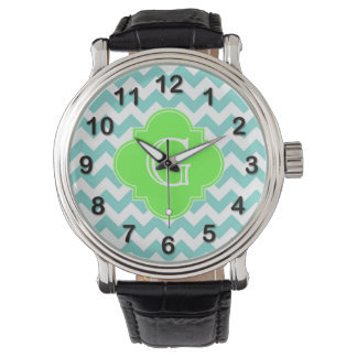 Turq / Aqua Wht Chevron Lime Quatrefoil Monogram Watch
