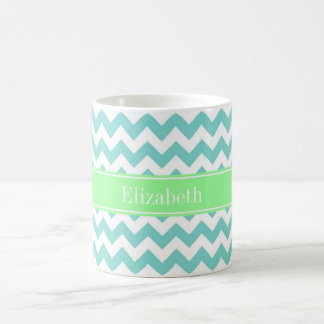 Turq / Aqua Wht Chevron Mint Green Name Monogram Coffee Mug
