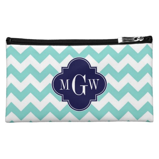 Turq / Aqua Wht Chevron Navy 3 Initial Monogram Cosmetic Bag