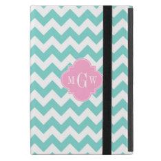 Turq / Aqua Wht Chevron Pink 3 Initial Monogram Cases For iPad Mini at Zazzle