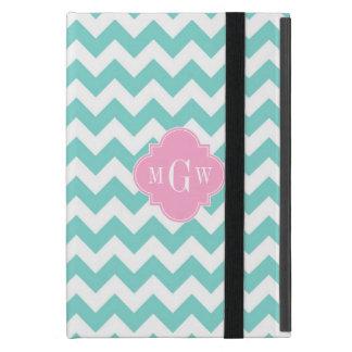 Turq / Aqua Wht Chevron Pink 3 Initial Monogram Cover For iPad Mini