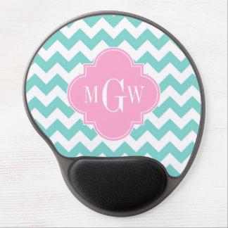 Turq / Aqua Wht Chevron Pink 3 Initial Monogram Gel Mouse Pad