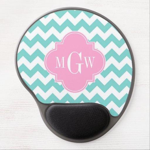 Turq / Aqua Wht Chevron Pink 3 Initial Monogram Gel Mouse Mats