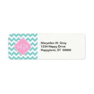 Turq / Aqua Wht Chevron Pink 3 Initial Monogram Custom Return Address Labels