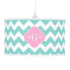 Turq / Aqua Wht Chevron Pink 3 Initial Monogram Lamp
