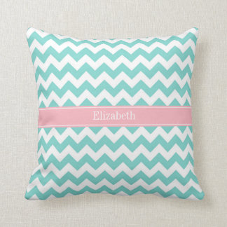 Turq / Aqua Wht Chevron Pink Name Monogram Pillows