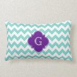 Turq / Aqua Wht Chevron Purple Quatrefoil Monogram Throw Pillows