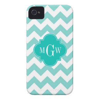 Turq / Aqua Wht Chevron Teal 3 Initial Monogram Case-Mate iPhone 4 Case