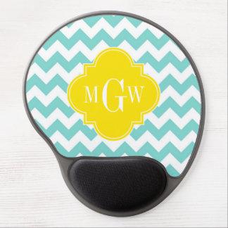 Turq / Aqua Wht Chevron Yellow 3 Initial Monogram Gel Mouse Pad