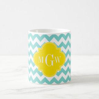 Turq / Aqua Wht Chevron Yellow 3 Initial Monogram Classic White Coffee Mug