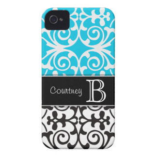 Turq/Black White Gray Personalized iPhone 4/4s iPhone 4 Case
