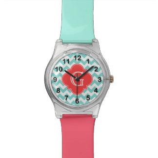 Turq/monograma coralino blanco de Chevron Relojes De Pulsera