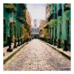 Turqoise Alley - Watercolor Sketch Signed Posters