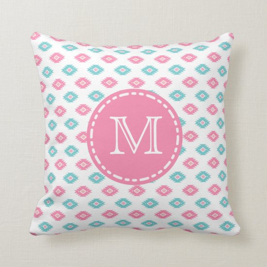 Turqoise and Pink Geometric Aztec - Monogrammed Throw Pillow