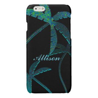 Turqoise Opal Palm Trees on Black Glossy iPhone 6 Case