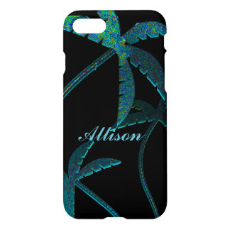 Turqoise Opal Palm Trees on Black iPhone 8/7 Case