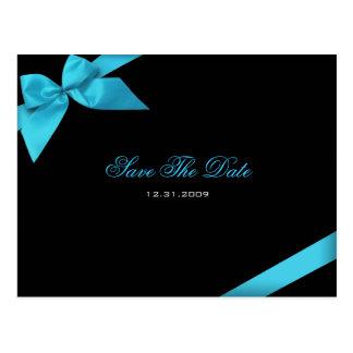 Turqoise Ribbon Wedding Invitation Save the Date Postcards