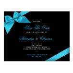 Turqoise Ribbon Wedding Save the Date 4 Postcard