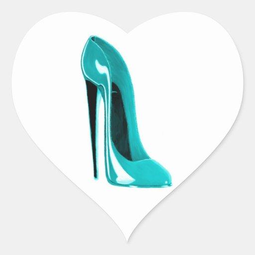 Turqoise Stiletto Shoe Heart Sticker