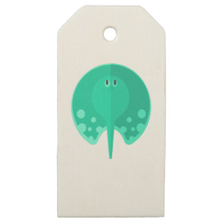 Turqoise Stingray Primitive Style Wooden Gift Tags